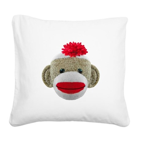 Sock Monkey Face Square Canvas Pillow
