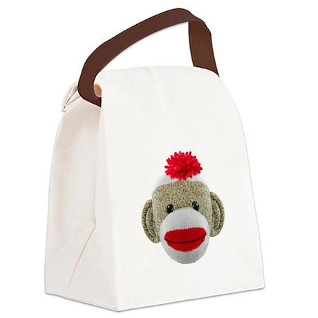 Sock Monkey Face Canvas Lunch Bag