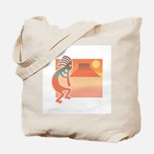 Kokopelli with Scenic Background Tote Bag