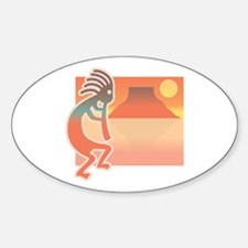 Kokopelli with Scenic Background Oval Decal