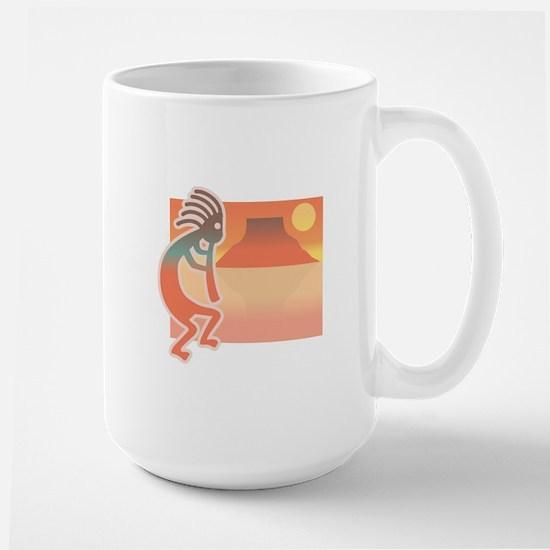 Kokopelli with Scenic Background Large Mug