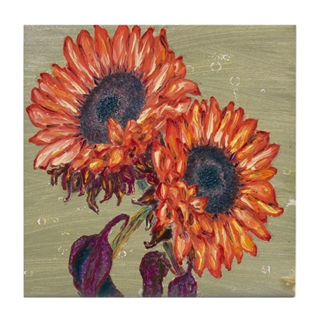 Red Sunflowers Tile Coaster