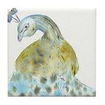 Watercolor Peacock Tile Coaster