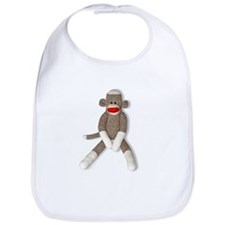 Sock Monkey Sitting Bib