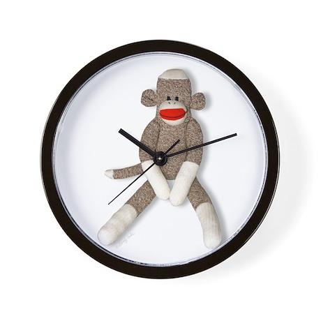 Sock Monkey Sitting Wall Clock