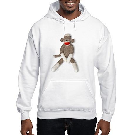 Sock Monkey Sitting Hooded Sweatshirt