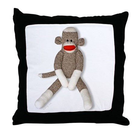 Sock Monkey Sitting Throw Pillow