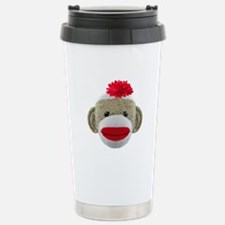 Sock Monkey Face Stainless Steel Travel Mug