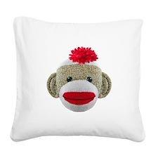 Sock Monkey Face Square Canvas Pillow