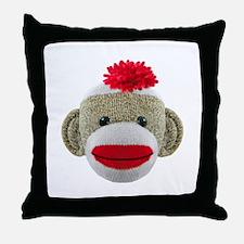 Sock Monkey Face Throw Pillow
