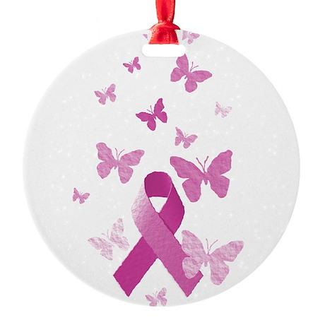 Pink Awareness Ribbon Round Ornament