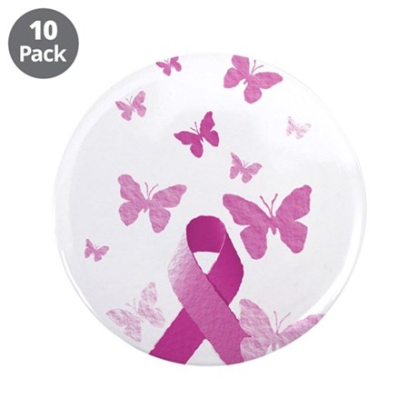 "Pink Awareness Ribbon 3.5"" Button (10 pack)"