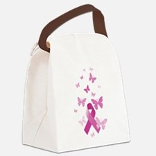 Pink Awareness Ribbon Canvas Lunch Bag