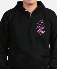 Pink Awareness Ribbon Zip Hoodie