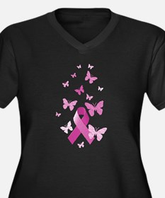 Pink Awareness Ribbon Women's Plus Size V-Neck Dar