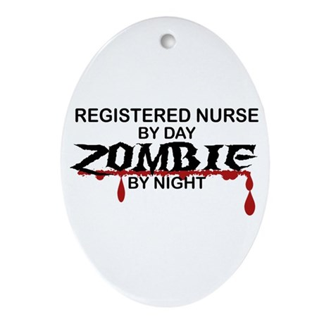 Registered Nurse Zombie Ornament (Oval)
