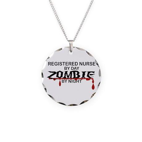 Registered Nurse Zombie Necklace Circle Charm