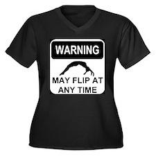 Warning may flip Women's Plus Size V-Neck Dark T-S