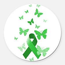 Green Awareness Ribbon Round Car Magnet