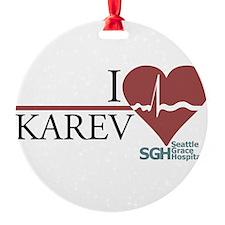 I Heart Karev Round Ornament