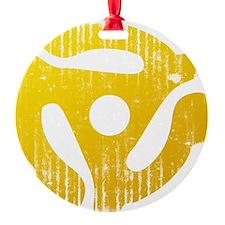Distressed Yellow 45 RPM Adap Ornament
