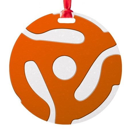 Orange 45 RPM Adapter Round Ornament