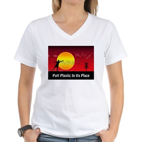 Putt Plastic In Its Place Women's V-Neck T-Shirt