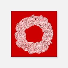 """White Wreath Square Sticker 3"""" x 3"""""""