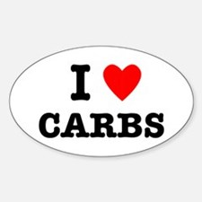 I Love Carbs Funny Diet Sticker (Oval)