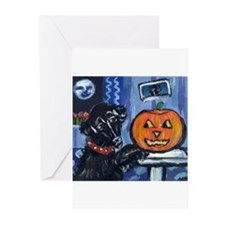 Flattie Pug investigates glow Greeting Cards (Pack