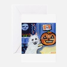 American Eskimo dog investiga Greeting Cards (Pack