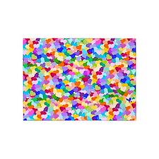 Rainbow Confetti Hearts 5'x7'Area Rug