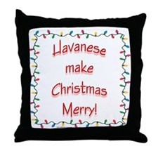 Merry Havanese Throw Pillow