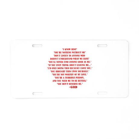 God quotes Aluminum License Plate