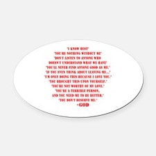 God quotes Oval Car Magnet