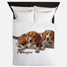 Two Beagles Queen Duvet