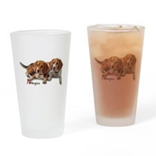 Two Beagles Drinking Glass
