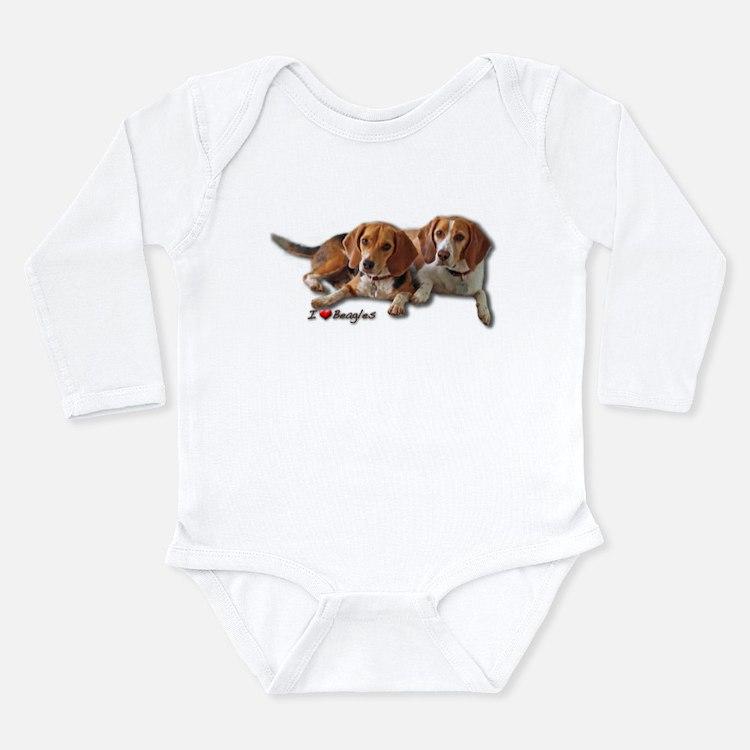 Two Beagles Long Sleeve Infant Bodysuit