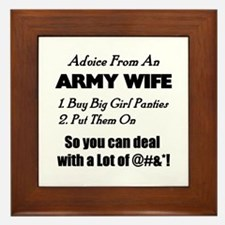 Advice Army Wife Framed Tile