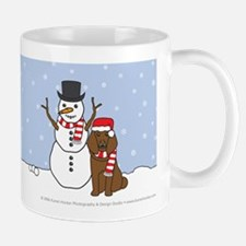 Brown Poodle Winter Mug