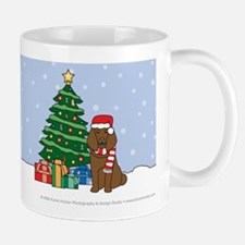 Brown Poodle Xmas Tree Mug