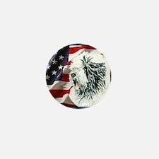 Old English Sheepdog US Flag Mini Button
