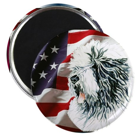 Old English Sheepdog US Flag Magnet