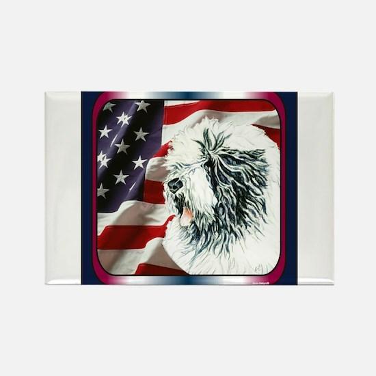 Old English Sheepdog US Flag Rectangle Magnet