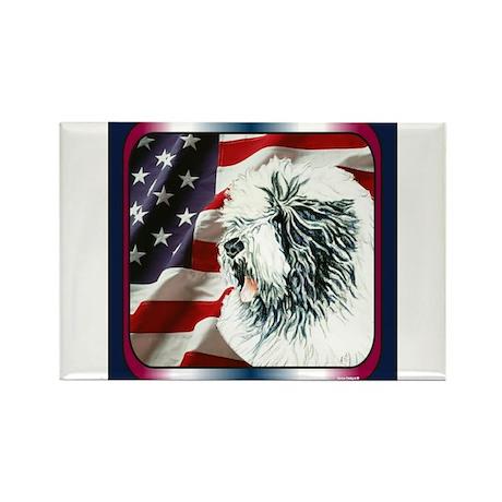 Old English Sheepdog US Flag Rectangle Magnet (10