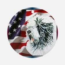 Old English Sheepdog US Flag Ornament (Round)