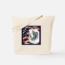 Old English Sheepdog US Flag Tote Bag