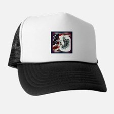 Old English Sheepdog US Flag Trucker Hat