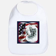 Old English Sheepdog US Flag Bib