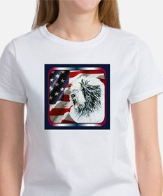 Old English Sheepdog US Flag Women's T-Shirt